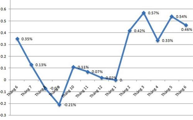 CPI 6 tháng năm 2016: Tốc độ tăng gấp 5 lần cùng kỳ - ảnh 1