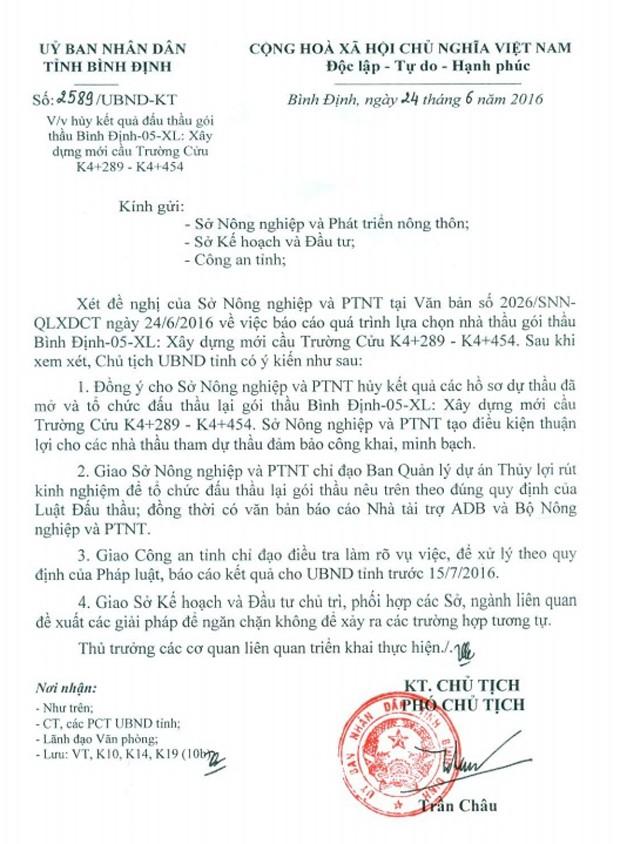 Vụ cướp HSDT trước cổng Ban QLDA Thủy lợi Bình Định: UBND tỉnh Bình Định chỉ đạo hủy đấu thầu - ảnh 1