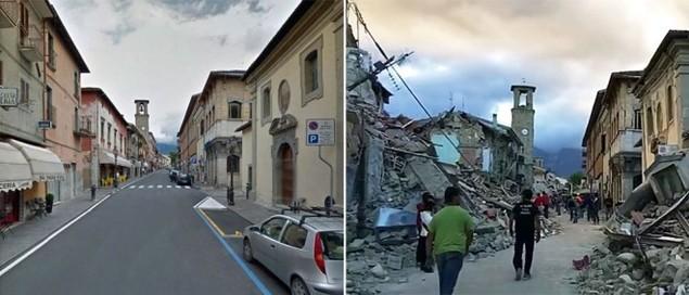 Hình ảnh đối lập của thị trấn Italy trước và sau động đất - ảnh 1