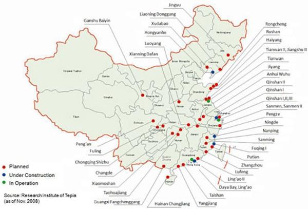 Ba nhà máy điện hạt nhân Trung Quốc nằm sát Việt Nam - ảnh 1