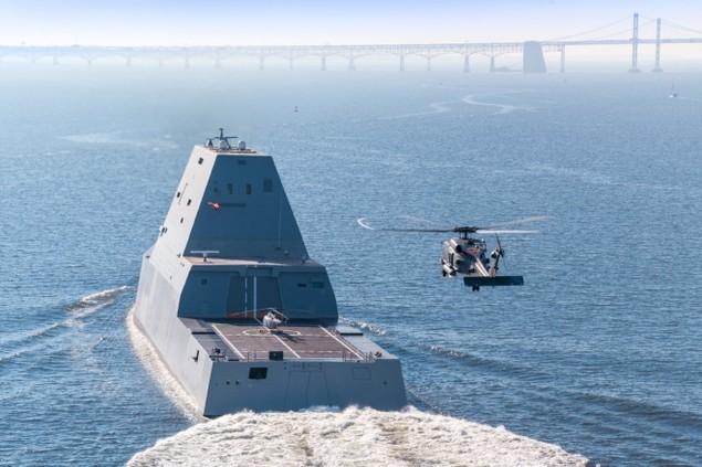 Tàu khu trục tàng hình Mỹ được chào đón ở căn cứ mới - ảnh 4