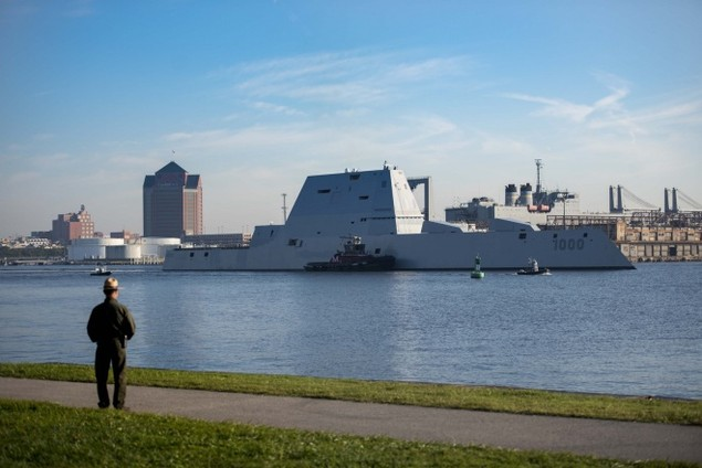 Tàu khu trục tàng hình Mỹ được chào đón ở căn cứ mới - ảnh 5