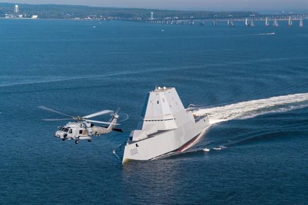 Tàu khu trục tàng hình Mỹ được chào đón ở căn cứ mới - ảnh 6