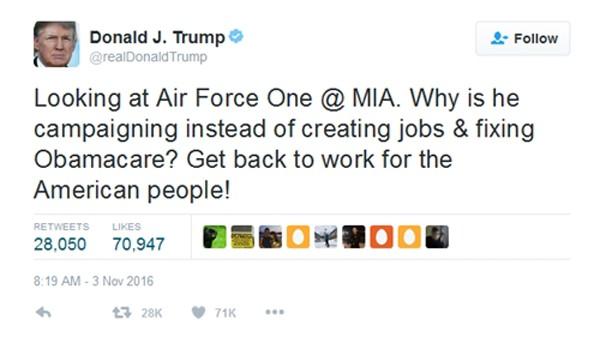 Obama chế giễu Trump bị mất quyền dùng Twitter cá nhân - ảnh 1
