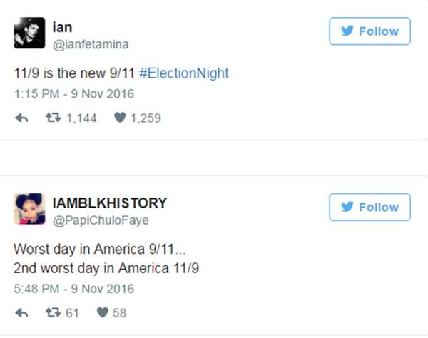 Người phản đối Trump ví ngày bầu cử 9/11 với thảm kịch khủng bố 11/9 - ảnh 1