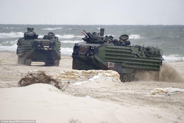 Các phương tiện quân sự phô diễn sức mạnh trên bờ biển (Ảnh: REX)